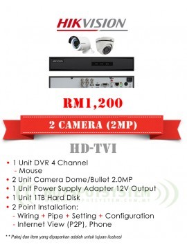 PACKAGES CCTV 2 CAMERA 4CH-2MP