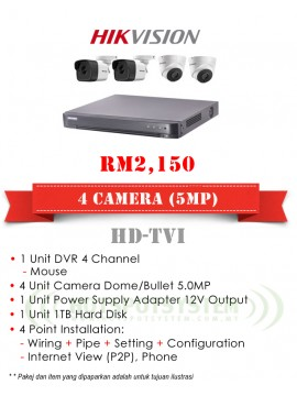 PACKAGES CCTV 4 CAMERA 4CH-5MP