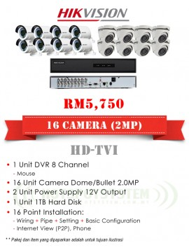 PACKAGES CCTV 16 CAMERA 16CH-2MP