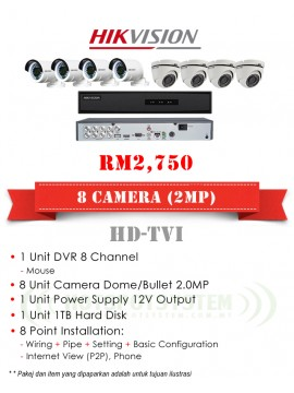 PACKAGES CCTV 8 CAMERA 8CH-2MP